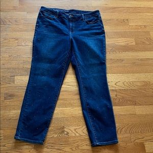 Talbots flawless slim ankle studded jeans